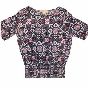 Michael Kors Boho Geometric Mandala Print Knit Top